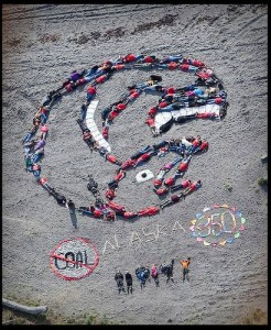 Shaping Our Future Event - Human Mosaic in the shape of a salmon in Homer Alaska 9/26/07